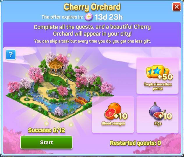 SuperCity Cherry Orchard Chain Quest For Levels 56-99